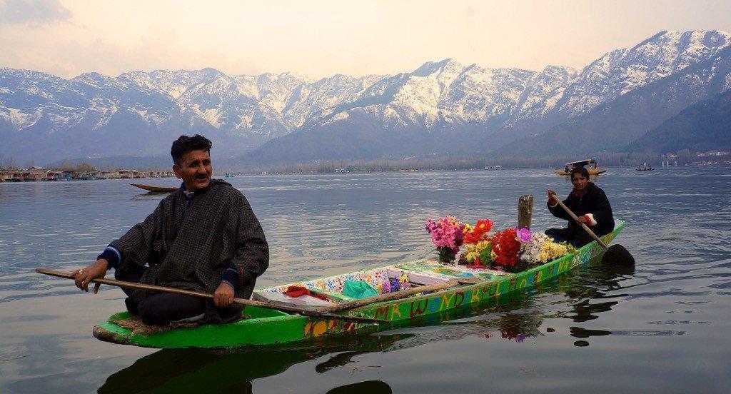 Locals selling flowers on Dal Lake, Srinagar