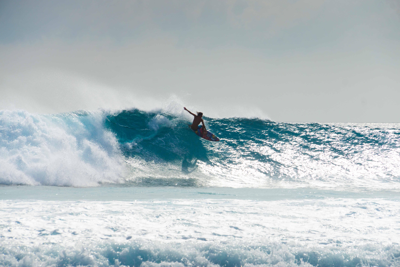 Jackson Coffey on a big swell at Vodi surf spot