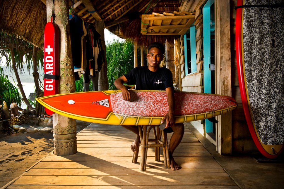 Working Nihiwatu boat house taking care of surfboards