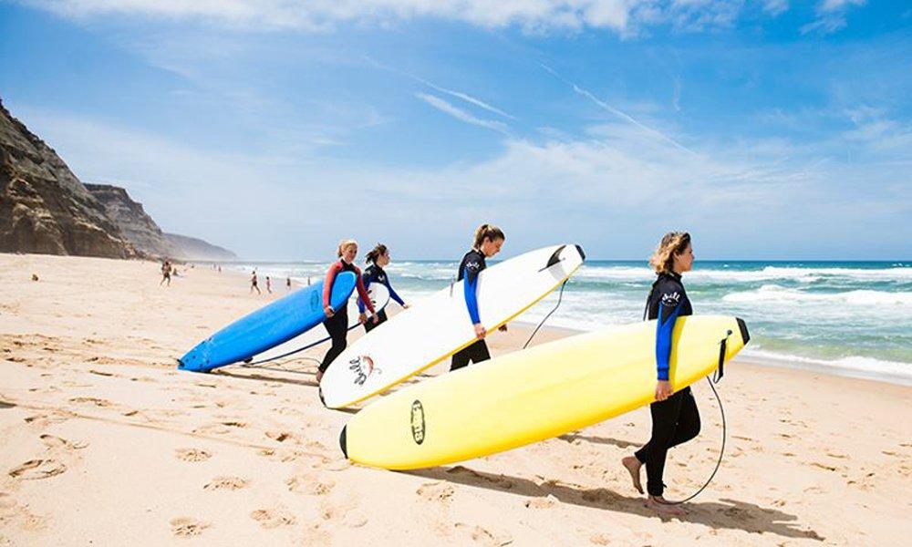 Surf class at a beach in Portugal