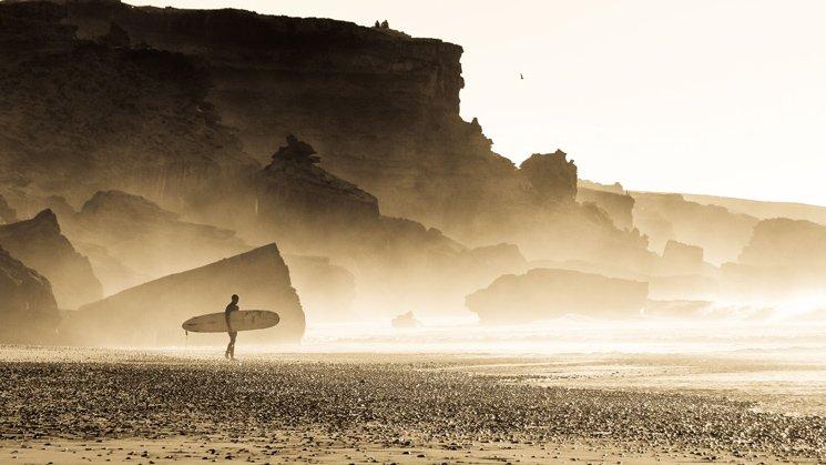 Lone longboarder in morocco