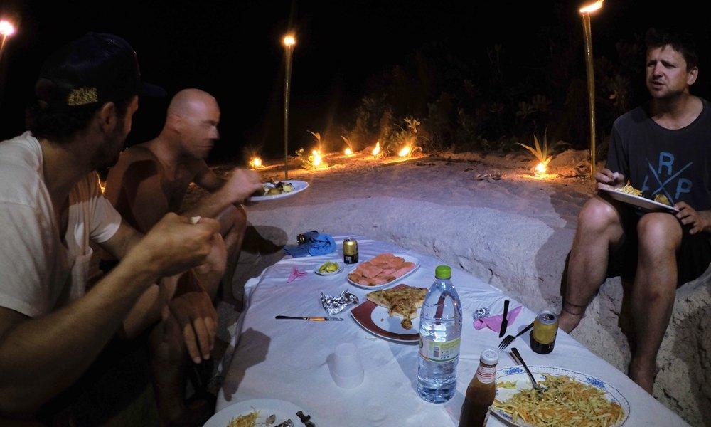 Dining on a deserted beach