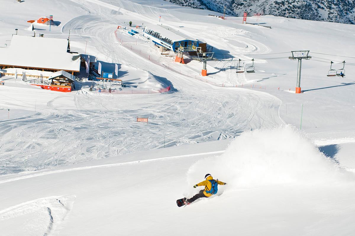 Skiing in Corralco in Chile