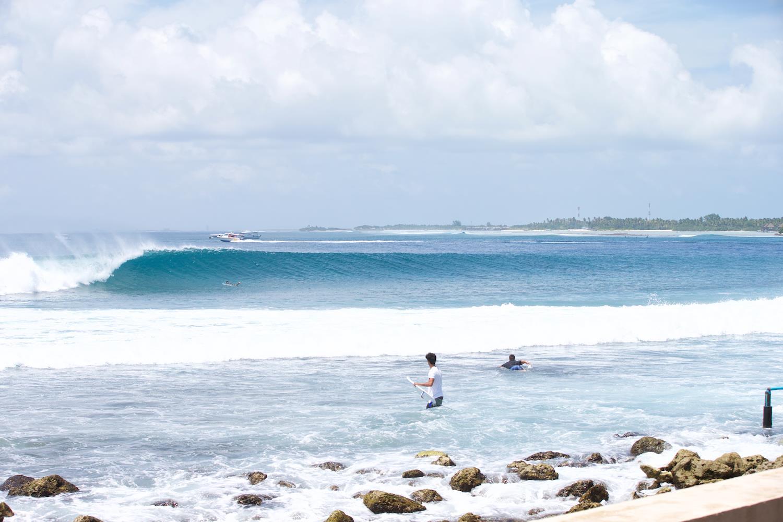 Surfing at Lohis, Maldives