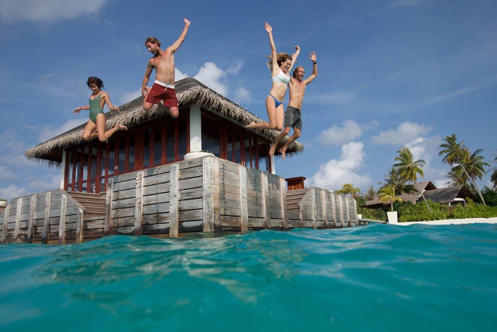 Jumping from the water villa at Niyama Maldives