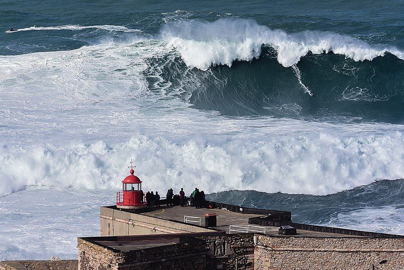 Big wave surfing in Nazare, Portugal