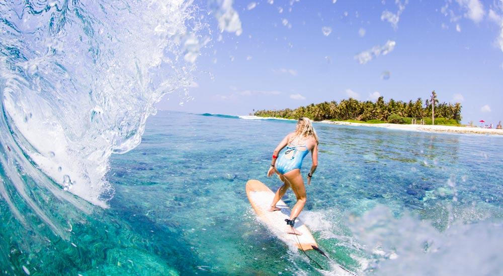Longboarding in the Maldives