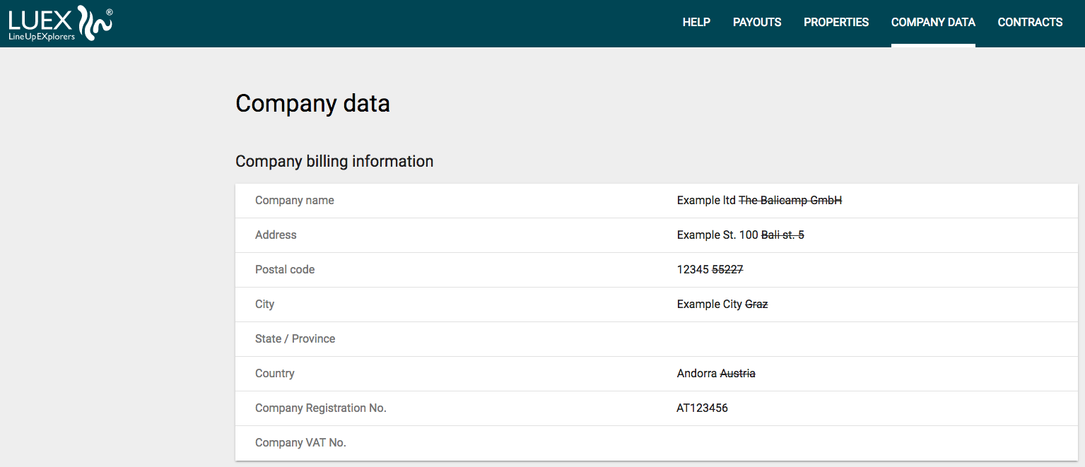 Edit your company data online